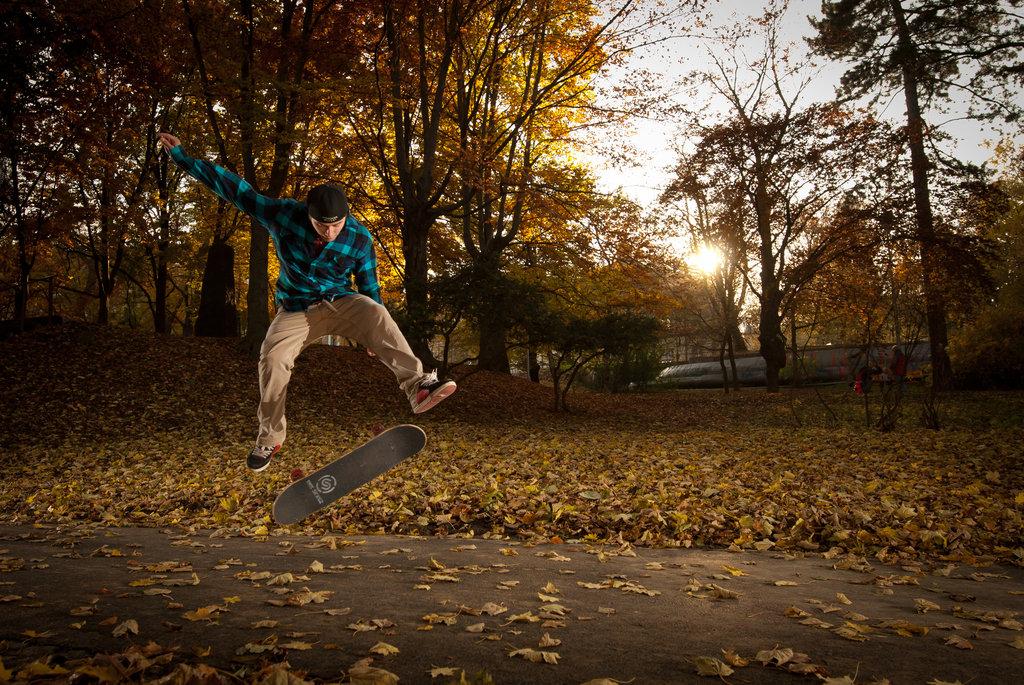 Autumn skateboarding